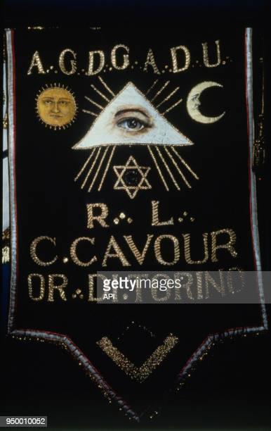Bannière emblématique du comte Camillo Cavour de l'Ordre de Turin