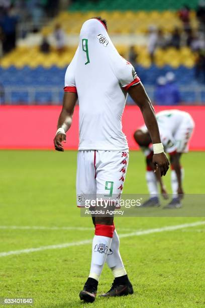Banou Diawara of Burkina Faso gets upset after the 2017 Africa Cup of Nations semifinal football match between Burkina Faso and Egypt at the Stade de...