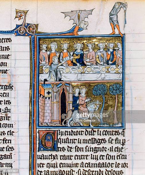 Banquet and riders c12801290 The king in the top part of the image is possibly King Arthur Below is a messenger of King Rion leaving Camelot...
