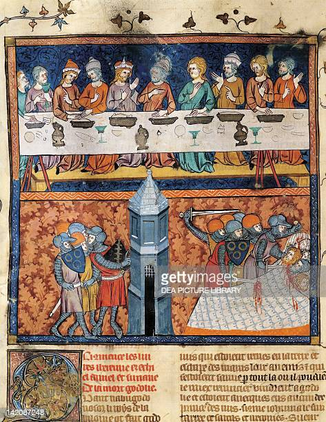Banquet at the court of a king Conspiracy and murder miniature from Guyart des Moulins and Peter Comestor's Bible manuscript end 13th...