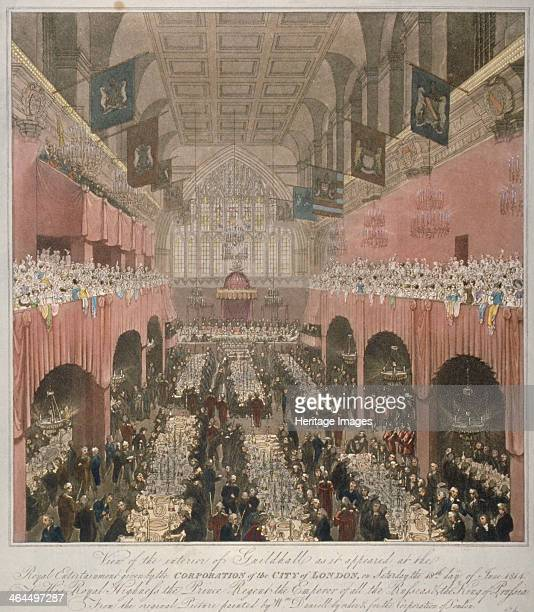 Banquet at the Guildhall City of London 1814 Interior view of the Guildhall during a banquet in honour of the Prince Regent Tsar Alexander I and King...