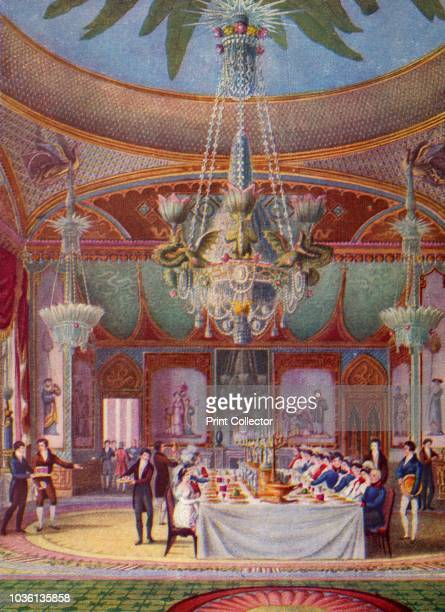 Banquet at the Royal Pavilion, Brighton', circa 1827, . Guests at the banqueting table under the dragon chandelier. Illustration from A History of...