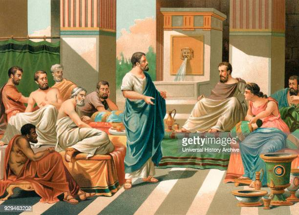 A banquet attended by the Seven Sages of Greece Periander Thales Solon Cleobulus Chilon Bias and Pittacus seven early6thcentury BC philosophers...
