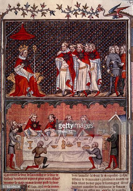 Banquet given by Charles V of France for the Emperor Charles IV in the large palace hall in 1378 Anonymous illuminated manuscript Paris Bibliotheque...