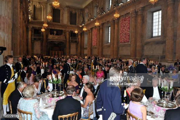 Banquet guests sit during the Wedding Banquet for Crown Princess Victoria of Sweden and her husband prince Daniel at the Royal Palace on June 19 2010...
