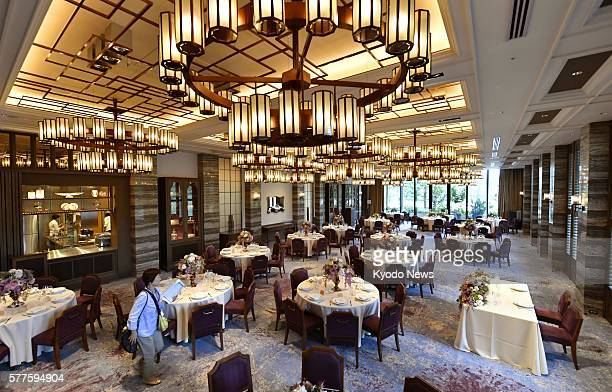 A banquet hall of the new facility Classic House at Akasaka Prince in Tokyo's Chiyoda Ward is unveiled to the media on July 19 2016 The hall is part...
