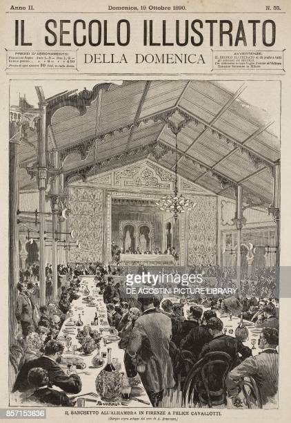 Banquet in honour of Felice Cavallotti in Alhambra Florence Italy drawing by A Bonamore illustration from Il Secolo Illustrato della Domenica Year II...