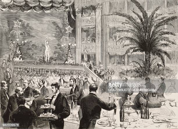 Banquet in the Civic Theatre of Cagliari for the inauguration of the Sardinian railways Sardinia Italy drawing by Dante Paolocci engraving from...