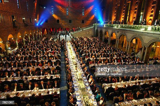 A banquet is held following the awarding of the Nobel Prizes at City Hall December 10 2003 in Stockholm Sweden The prizes were being awarded at...