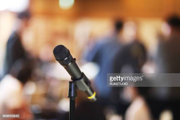 banquet microphone - banquet hall stock pictures, royalty-free photos & images