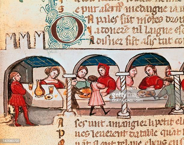 A banquet miniature Veneto Italy 14th Century
