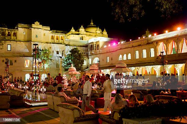 Banquet of 76th Maharana of Mewar His Highness Shriji Arvind Singh Mewar of Udaipur at the City Palace to celebrate Hindu Holi Festival Rajasthan...
