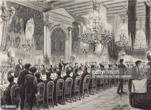Banquet on the occasion of the inauguration of the monument to Daniele Manin Italian patriot and politician in Venice Italy illustration after a...