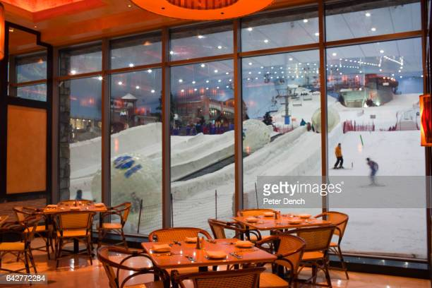 A banquet room at the Mall of the Emirates Cheesecake Factory overlooking the indoor ski slope The Cheesecake Factory in the Mall of the Emirates is...