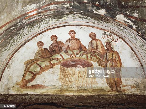 Banquet scene fresco Catacombs of Marcellinus and Peter Rome Italy 4th century