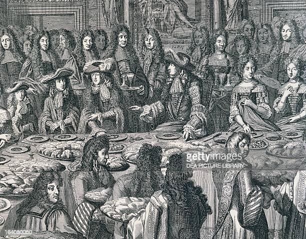 Banquet scene with the king of France Louis XIV engraving France 17th century Paris Bibliothèque Des Arts Decoratifs