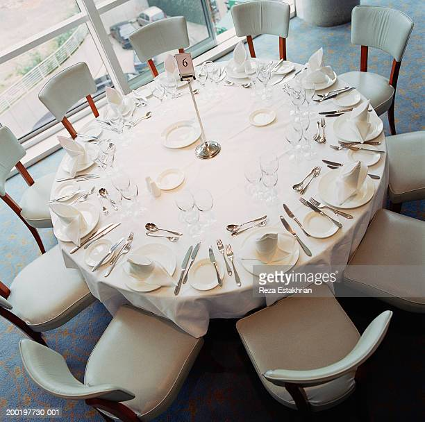 Banquet table setting, elevated view