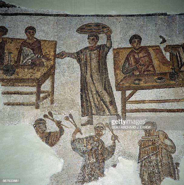 Banquet with musicians fragment of mosaic from Carthage Tunisia Roman civilisation 4th century AD Detail Tunis Musée National Du Bardo