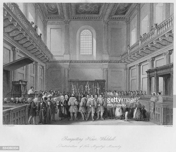 Banqueting House Whitehall Distribution of Her Majesty's Maundy' from 'London Interiors with their Costumes Ceremonies from Drawings made by...