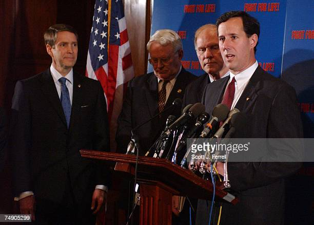 'PARTIALBIRTH' ABORTION BANSenate Majority Leader Bill Frist RTenn Rep Joe Pitts RPa Rep Steve Chabot ROhio and Sen Rick Santorum RPa during a news...