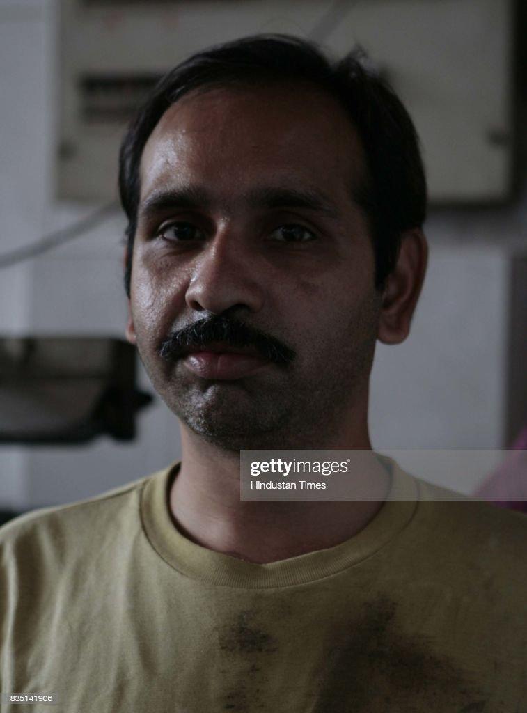 Bansidhar Dharji, worker at a diamond polishing factory in Dahisar.