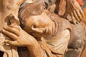 Banska Stiavnica -  carved statue of Pieta (Mary Magdalen) detail