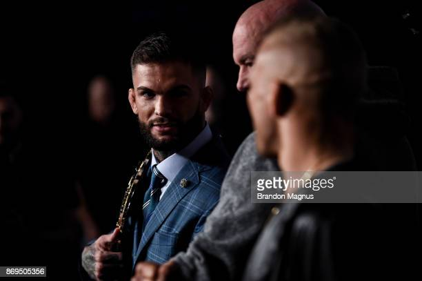 UFC bantamweight champion Cody Garbrandt and TJ Dillashaw face off during the UFC 217 Press Conference inside Madison Square Garden on November 2...