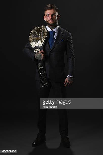 UFC bantamweight champion Cody Garbrandt poses backstage during the UFC 207 event at TMobile Arena on December 30 2016 in Las Vegas Nevada