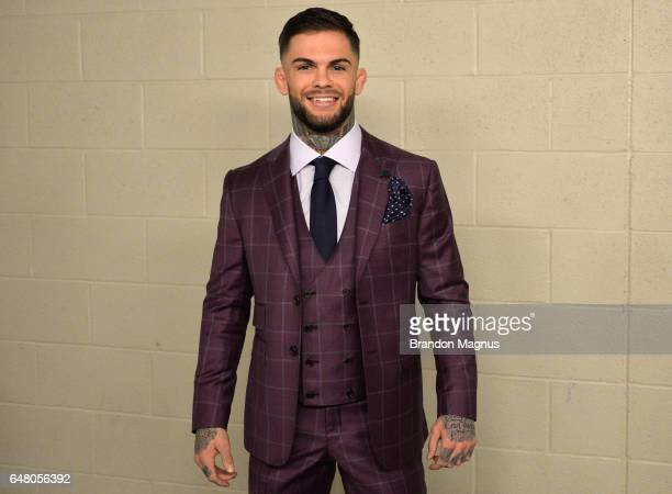 UFC bantamweight champion Cody Garbrandt poses for a picture backstage during the UFC 209 event at TMobile arena on March 4 2017 in Las Vegas Nevada