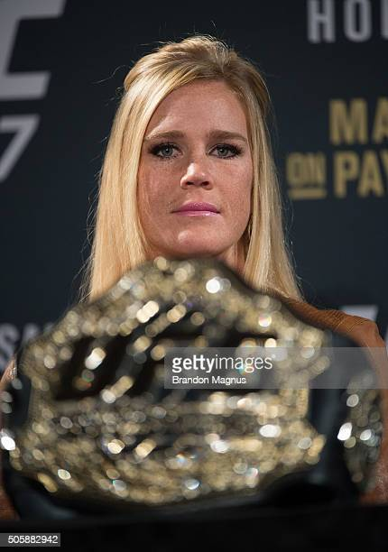 UFC bantamweight champion Holly Holm speaks to the media during the UFC 197 onsale press conference event inside MGM Grand Hotel Casino on January 20...