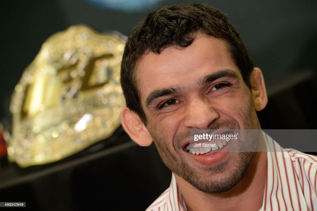 Bantamweight Champion Renan Barao speaks to the media during the UFC 173 Ultimate Media Day at the MGM Grand Garden Arena on May 22, 2014 in Las Vegas, Nevada.
