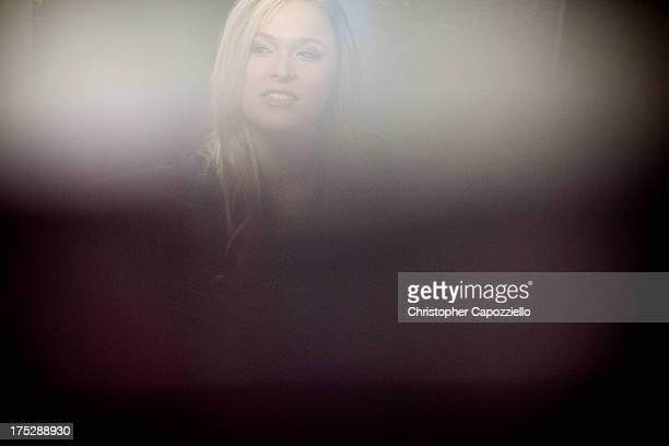 Bantamweight champion Ronda Rousey is interviewed by ESPN W's Editor Susie Arth at ESPN's headquarters August 1, 2013 in Bristol, Connecticut. Rousey...