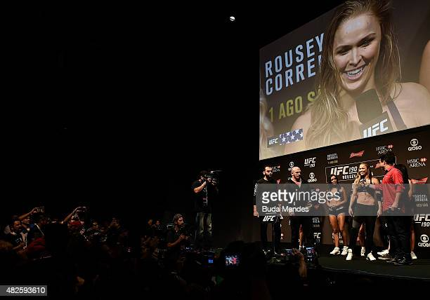 Bantamweight Champion Ronda Rousey of the United States speaks to fans and media during the UFC 190 Rousey v Correia weigh-in at HSBC Arena on July...