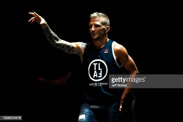 UFC bantamweight champion TJ Dillashaw holds an open workout for fans and media at The Novo at LA Live on August 1 2018 in Los Angeles California