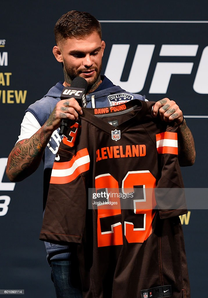 UFC bantamweight contender Cody Garbrandt answers questions from the media and fans during a Q&A before the UFC 203 Weigh-in at Quicken Loans Arena on September 9, 2016 in Cleveland, Ohio.