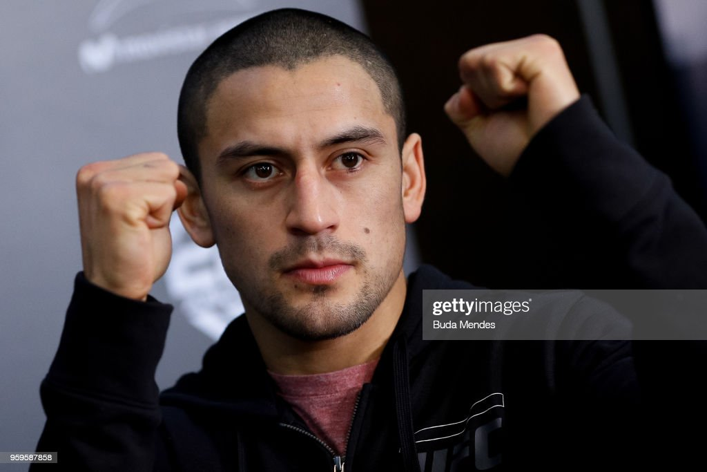 UFC bantamweight contender Diego Rivas of Chile attends the media during Ultimate Media Day on May 17, 2018 in Santiago, Chile.