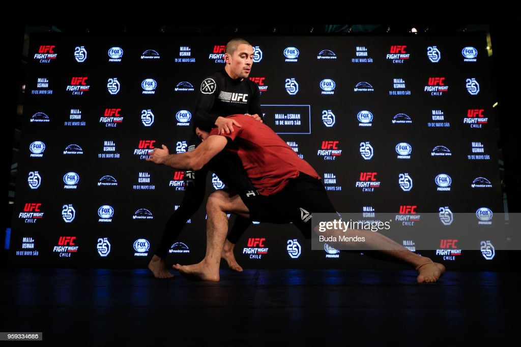 UFC bantamweight contender Diego Rivas of Chile holds an open training session at Mall Sport on May 16, 2018 in Santiago, Chile.
