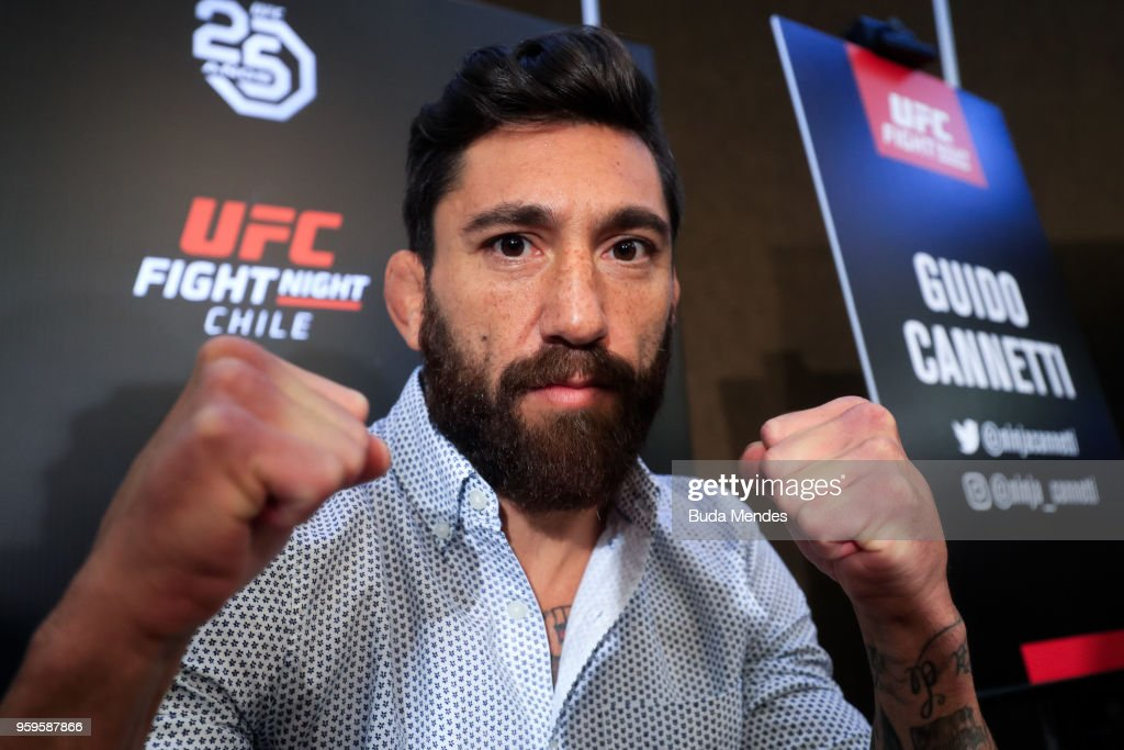 UFC bantamweight contender Guido Cannetti of Argentina attends the media during Ultimate Media Day on May 17, 2018 in Santiago, Chile.