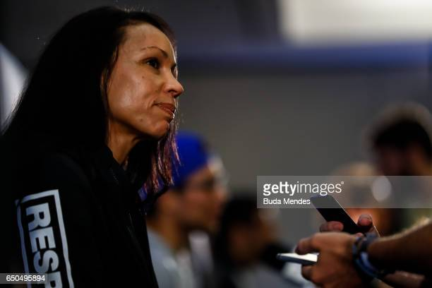 Bantamweight contender Marion Reneau of the United States speaks to the media during Ultimate Media Day at Gran Marquise Hotel on March 09 2017 in...