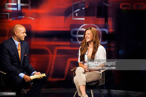 Bantamweight fighter Miesha Tate is interviewed by Sportscenter anchor Jorge Andres at ESPN's headquarters on August 1 in Bristol, Connecticut. Tate...