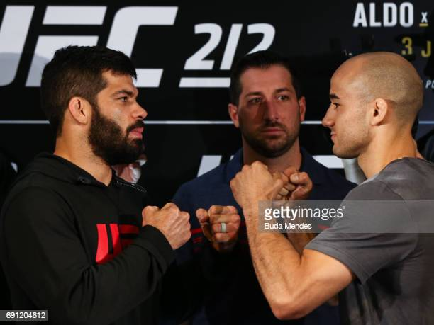 UFC bantamweight fighters Raphael Assuncao of Brazil and Marlon Moraes of Brazil face off during Ultimate Media Day at Windsor Hotel on June 01 2017...