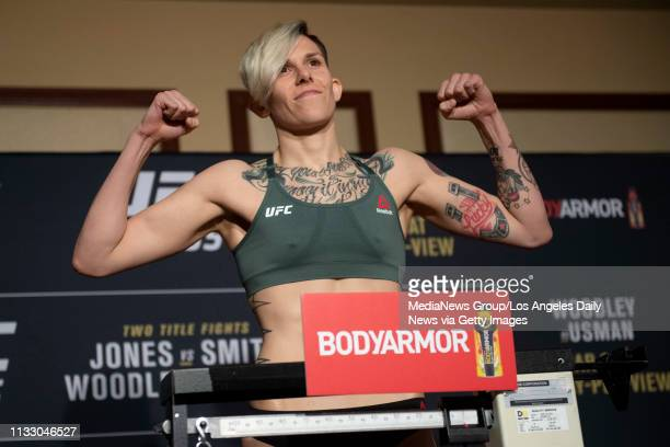 UFC bantamweight Macy Chiasson weighs in at 136 pounds during UFC 235 official weighins at New York New York Hotel and Casino in Las Vegas NV...