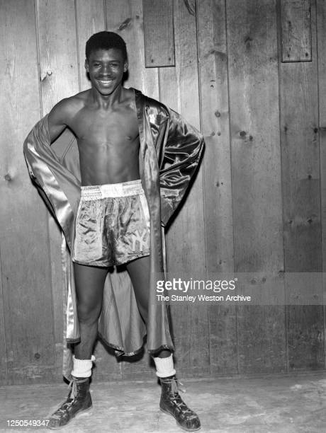 Bantamweight professional boxer Albert Pell of the United States poses for a portrait on October 15, 1953 at Stillman's Gym in New York, New York....