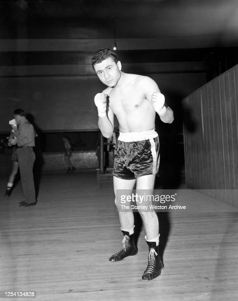 Bantamweight professional boxer George Small of England poses for a portrait on May 1, 1950 at Stillman's Gym in New York, New York.
