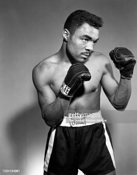 Bantamweight professional boxer George Smallwood of England poses for a portrait on January 30, 1956 in the Bronx, New York.
