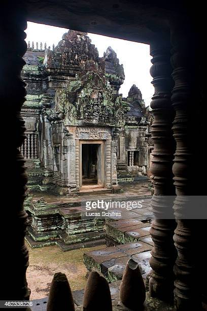 Banteay Samre temple is seen through a window on October 5 2009 in Angkor Cambodia Banteay Samre is a Hindu temple built under Suryavarman II and...
