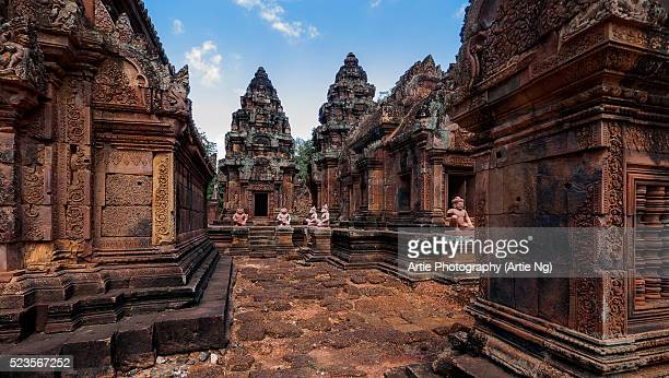 banteay srei, angkor, siem reap, cambodia - banteay srei stock pictures, royalty-free photos & images