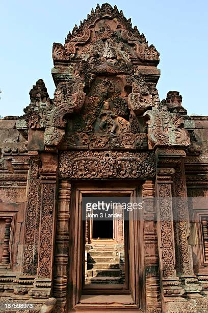Banteay Srei is a 10th century Cambodian temple dedicated to the Hindu god Shiva. Built largely of red sandstone, a medium that lends itself to the...