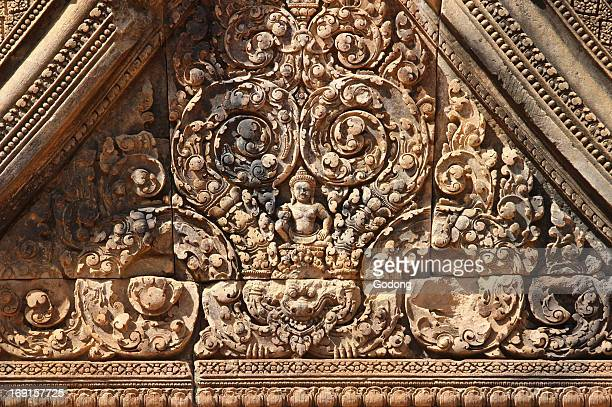 Banteay Srei Temple at Angkor in Cambodia. Intricately carved.