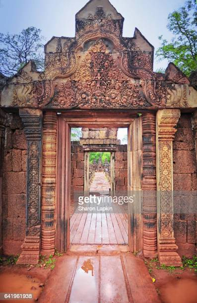 banteay srei temple - khmer art stock photos and pictures